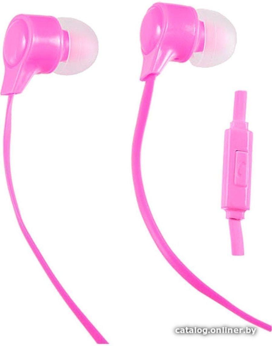 Наушники внутриканальные c микрофоном Perfeo HANDY розовые /50, 4607147641354