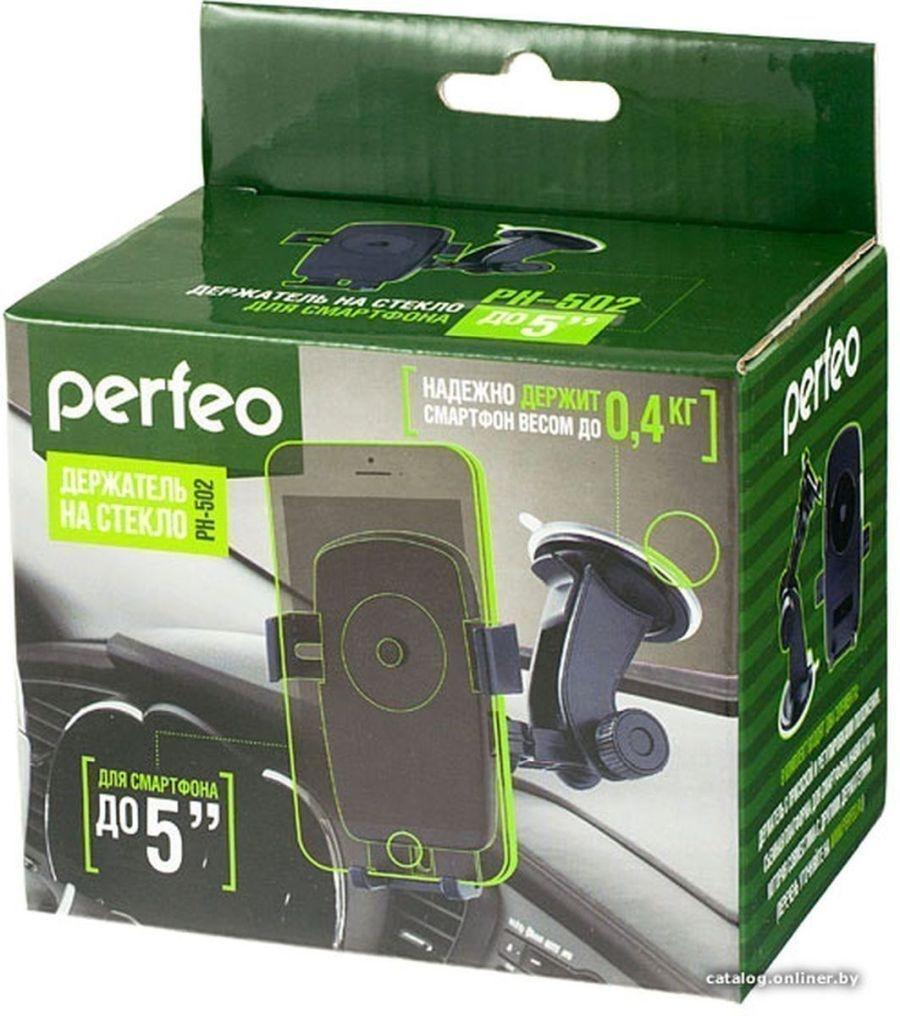 Perfeo-502 Автодержатель для смартфона до 5'/ на стекло/ One touch/ черный+оранж. (PH-502-2)