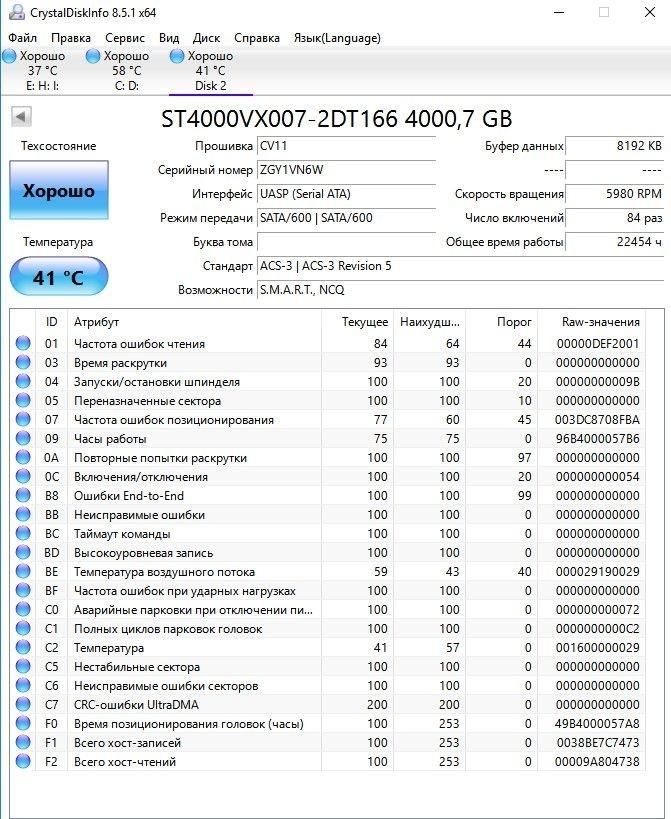 Жесткий диск 4000GB Seagate (ST4000VX007) SATA 3.0 (6Gbps), буфер 64 МБ, БУ