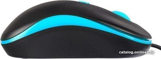 Мышь проводная Perfeo MOUNT, 4 кн, DPI 800-1600, USB, чёрн/голуб. PF_A4510