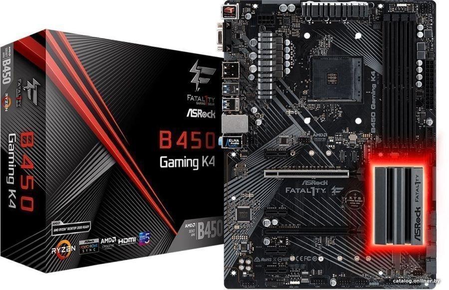 Материнская плата ASRock Fatal1ty B450 Gaming K4ATX, сокет AMD AM4, чипсет AMD B450, память 4xDDR4,
