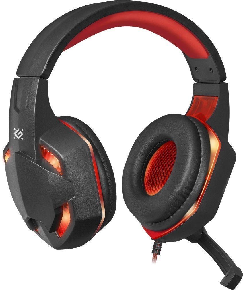 Игровая гарнитура Defender Warhead G-370 черный+красный, кабель 2 м