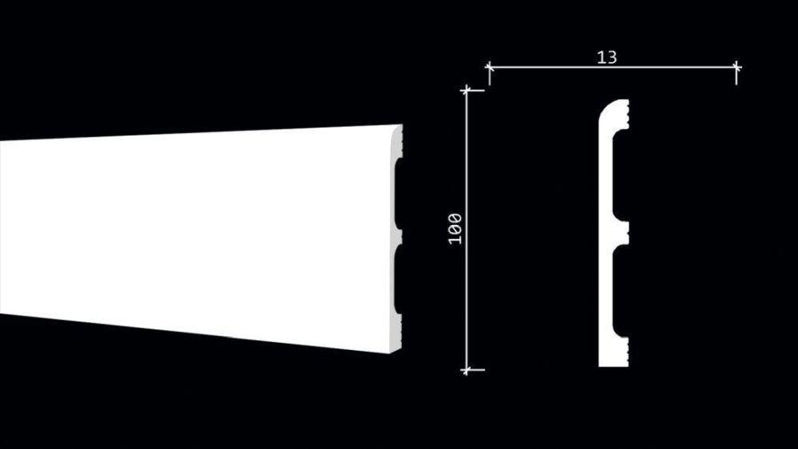 DD707 Плинтус напольный ударопрочный, влагостойкий под покраску (100*13*2000 мм) 18 шт. в коробке