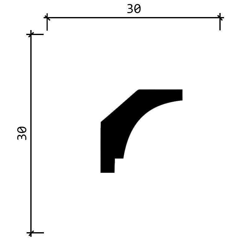 DD37/Карниз (30x30x2000мм)/45, ШТ.
