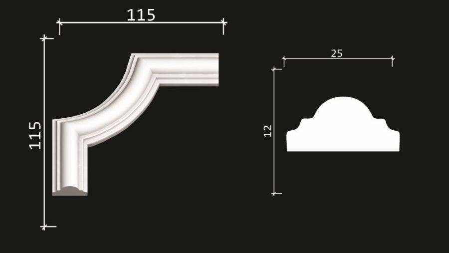 C1-DD35/Декоративный уголок гладкий (115*115*12мм)/4 шт. в упаковке