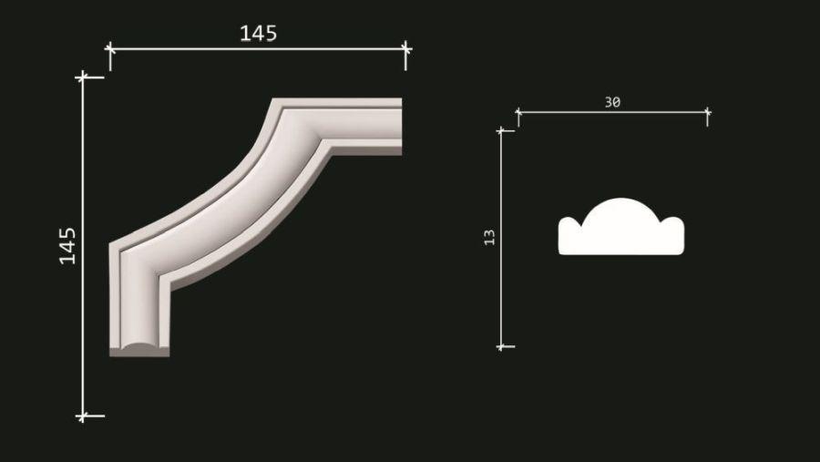 C1-157A/Декоративный уголок гладкий (145х145х13мм.) 4 шт. в упаковке