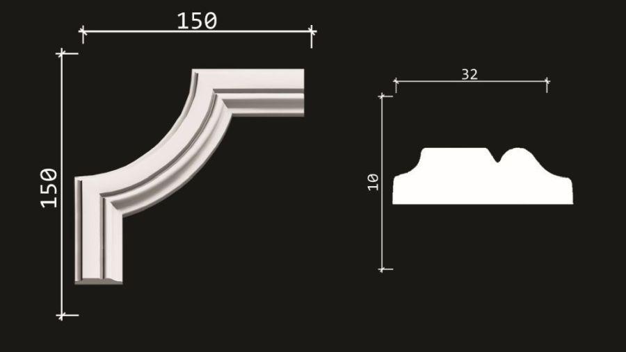 C1-DD603/Декоративный уголок гладкий (150*150*10мм)/4 шт. в упаковке