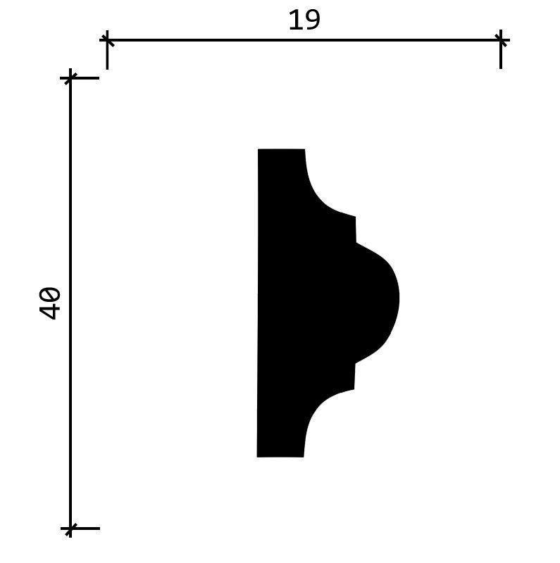 DD002/Молдинг (40x17x2000мм)/45, ШТ.