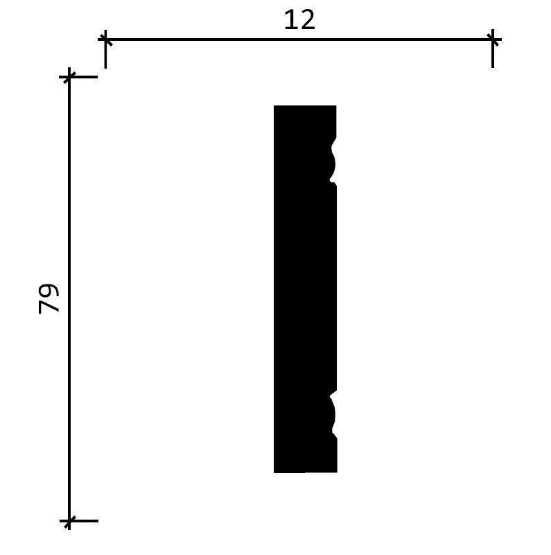 150 A/ Молдинг широкий (80x12x2000 мм)/23, ШТ.