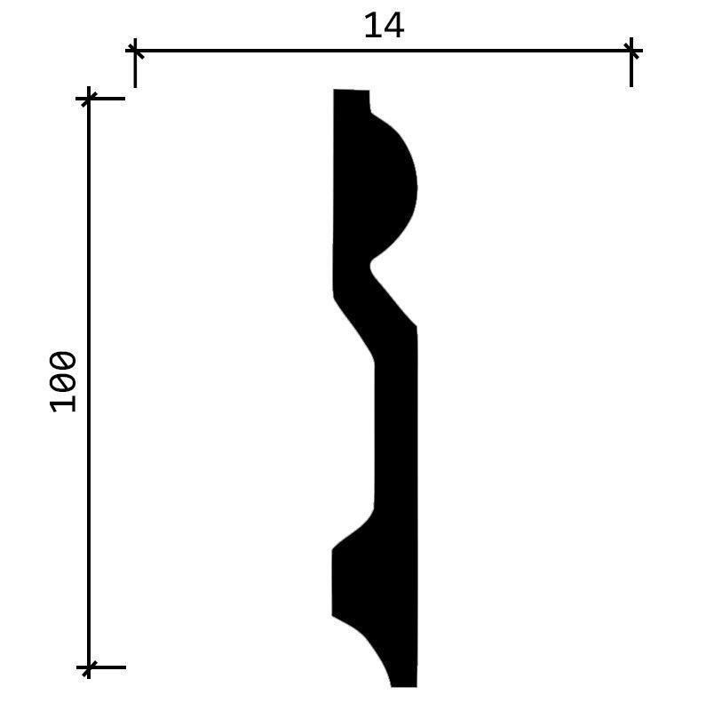 DD137/Плинтус широкий  (100x14x2000мм)/18, ШТ.