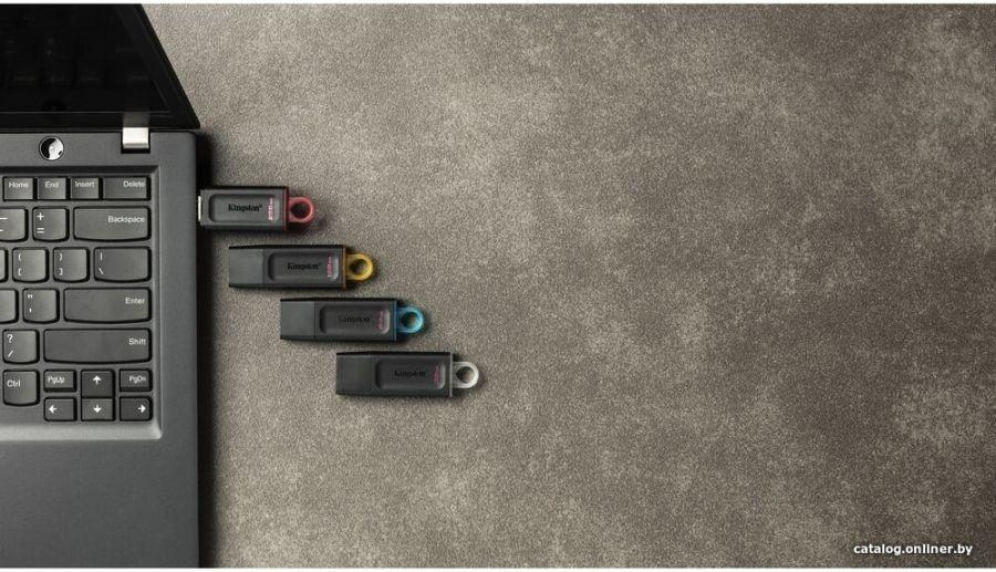 USB Flash Kingston Exodia 32GB, с колпачком, пластик, цвет черный, USB 3.2